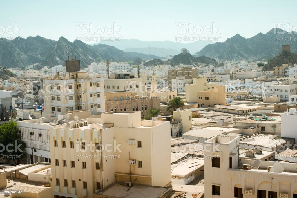 Panoramic view from above of Muscat's old town, Muttrah, Oman stock photo