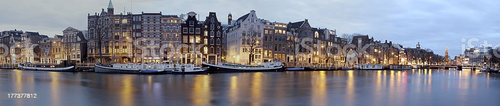 Panoramic view from Amsterdam in the Netherlands at twilight stock photo