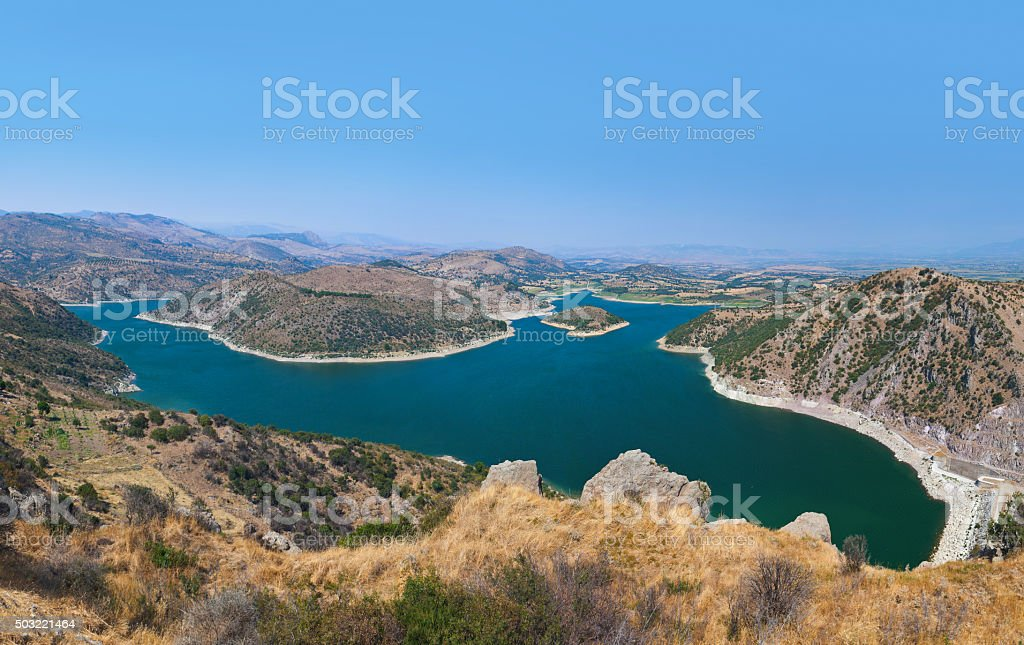 Panoramic view from ancient city of Pergamon to the lake stock photo
