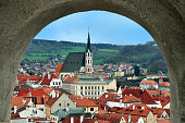 Panoramic view from arched window, Cesky Krumlov, Czech Republic.