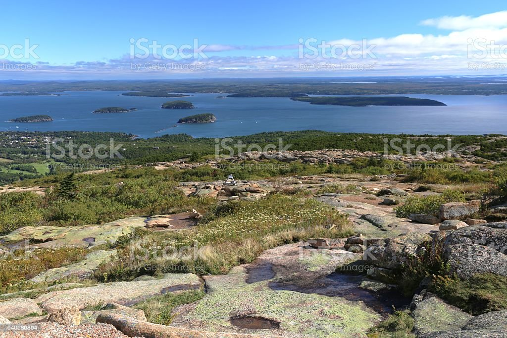 Panoramic View From Atop Cadillac Mountain. stock photo