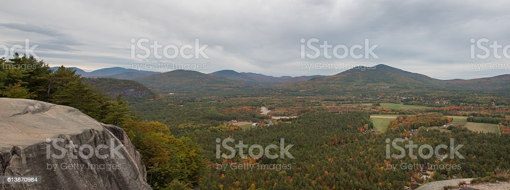 Panoramic view from Cathedral ledge stock photo