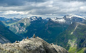 Panoramic view from Dalsnibba mountain peak to Geiranger fjord, Norway.