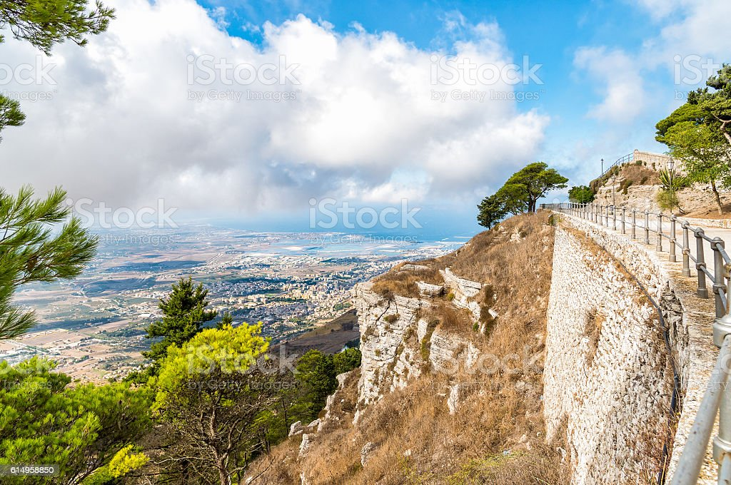Panoramic view from Erice tuwards Trapani and Egadi Islands stock photo