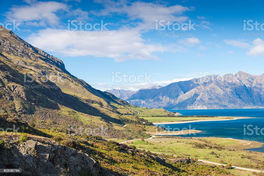 Panoramic view from famaus road in new zealand stock photo
