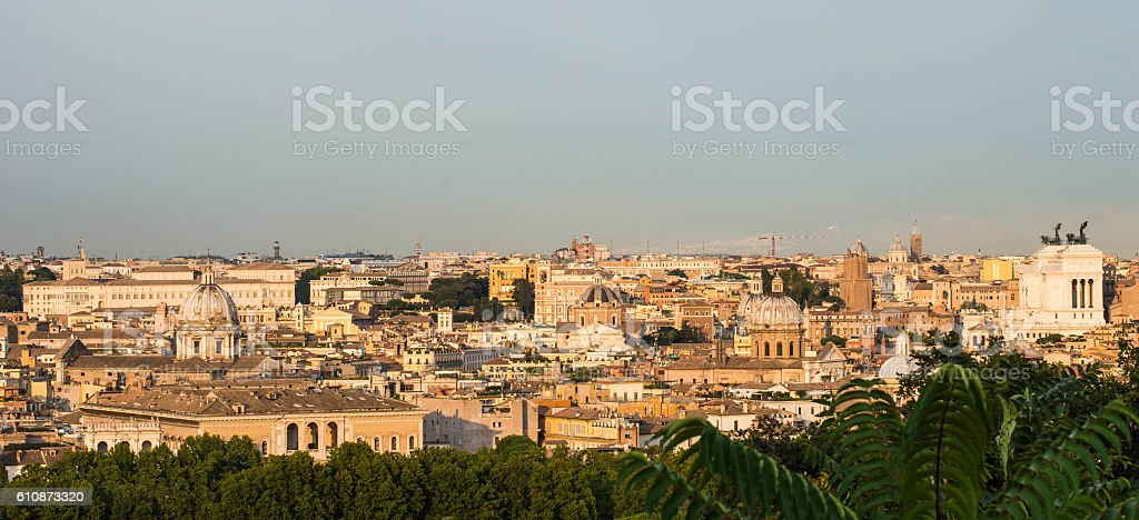 Panoramic view from Gianicolo hill, Rome, Italy stock photo