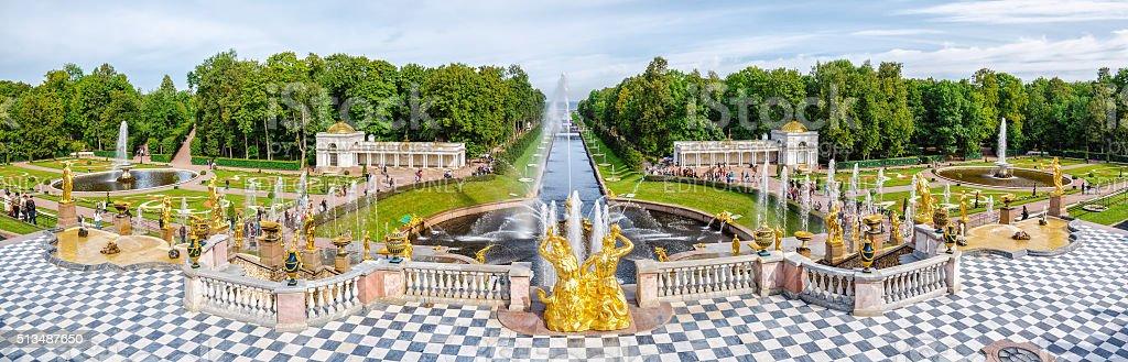 Panoramic view from Grand Petergof Palace stock photo