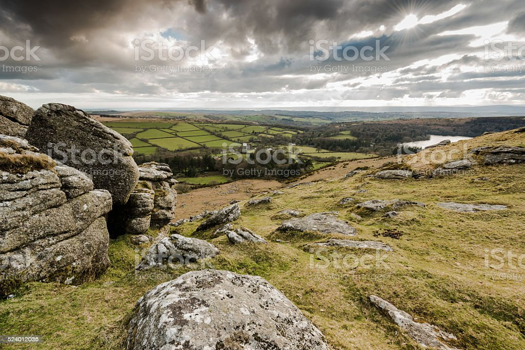 Panoramic view from hill top in Dartmoor, UK. stock photo