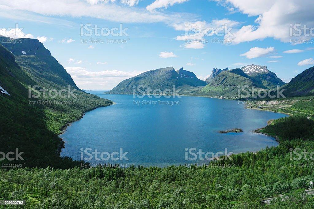 Panoramic View from Husfjellet Mountain on Senja Island stock photo