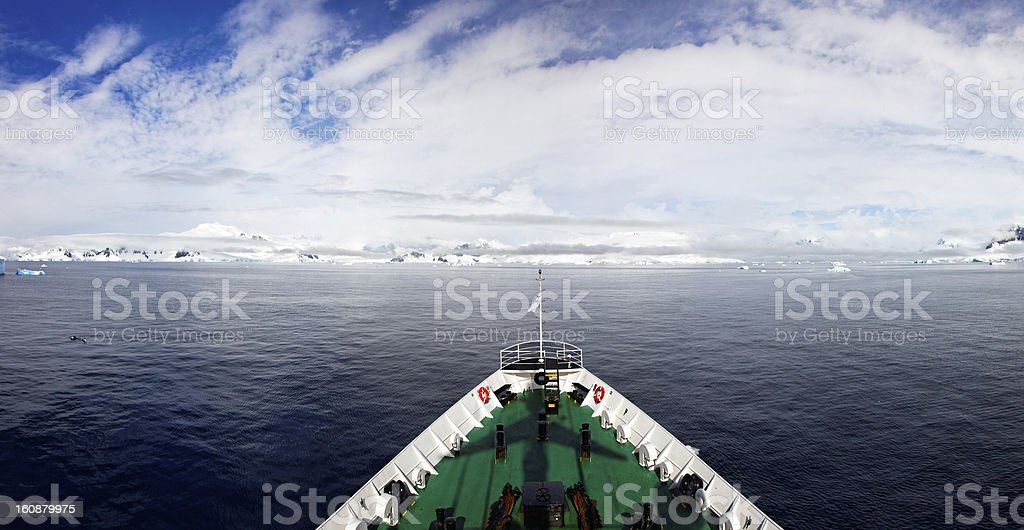 Panoramic view from icebreaker in Antarctica royalty-free stock photo