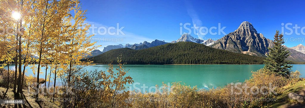 Panoramic View from Icefields Parkway from Banff to Jasper stock photo
