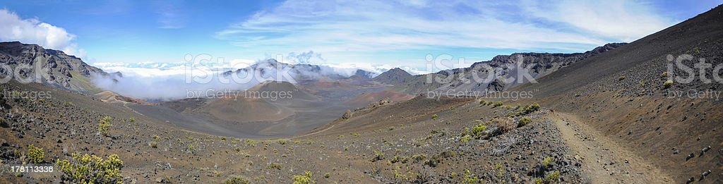 Panoramic view from inside of Haleakala crater, Maui, Hawaii royalty-free stock photo