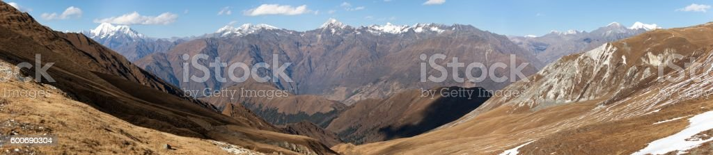 Panoramic view from Jang La pass to Lower Dolpo area stock photo