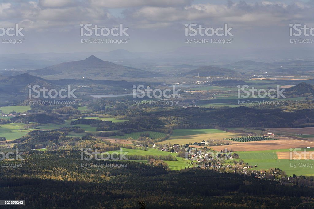 Panoramic view from Jested mountain near Liberec in Czech republic stock photo