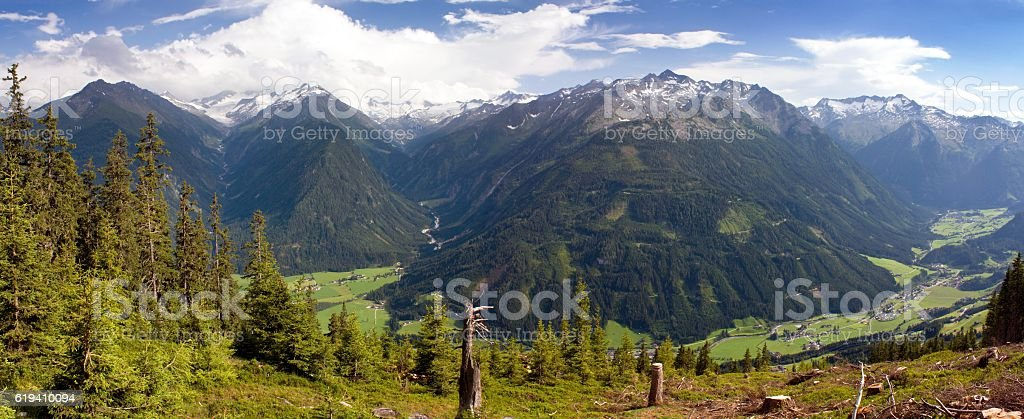Panoramic view from Kitzbuheler Alpen to Hohe Tauern Austrian Alps stock photo