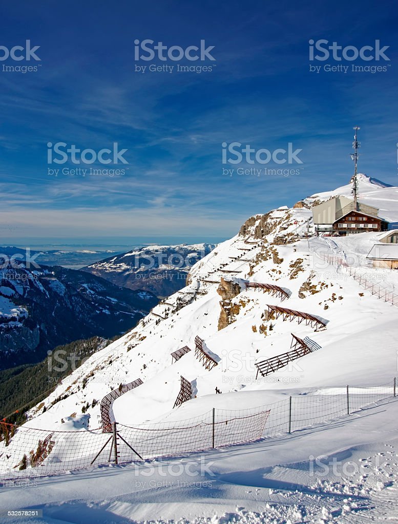Panoramic view from Mannlichen skiing resort to the Lauterbrunne stock photo