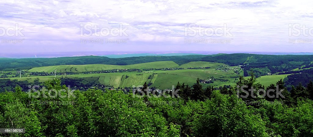 Panoramic view from Mount Fichtelberg (Ore Mountains / Saxony / Germany) stock photo