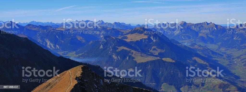 Panoramic view from mount Niesen stock photo