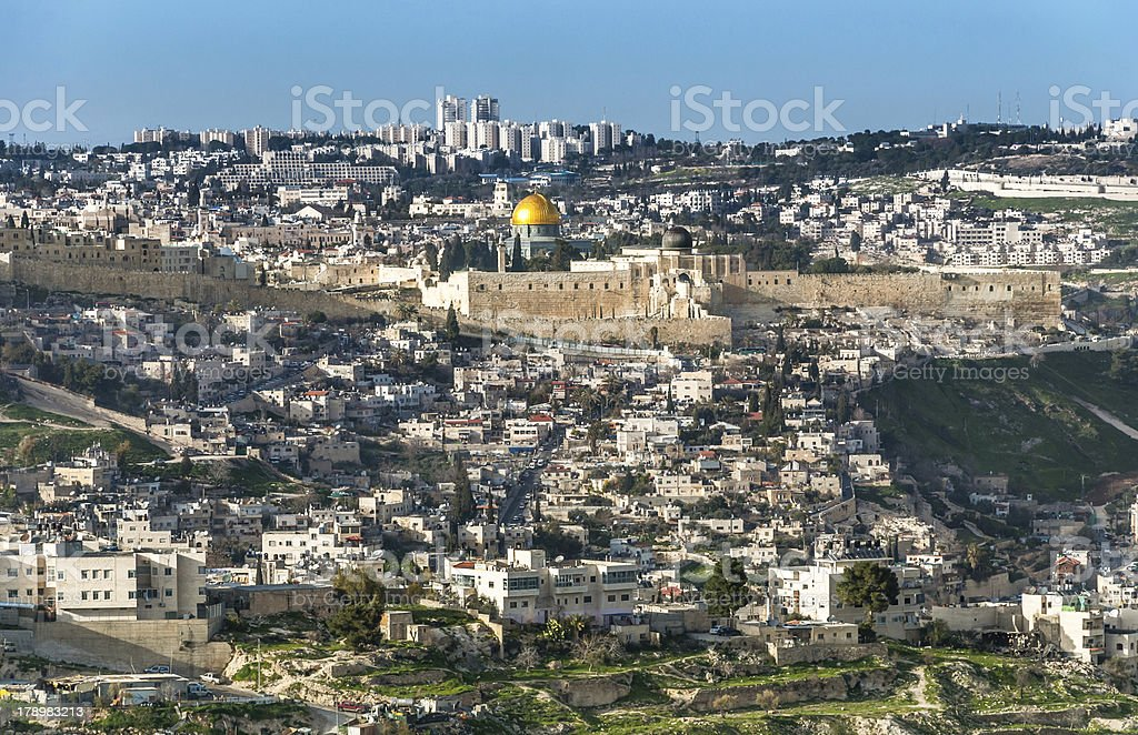 Panoramic view from Mount Olives over the old Jerusalem royalty-free stock photo