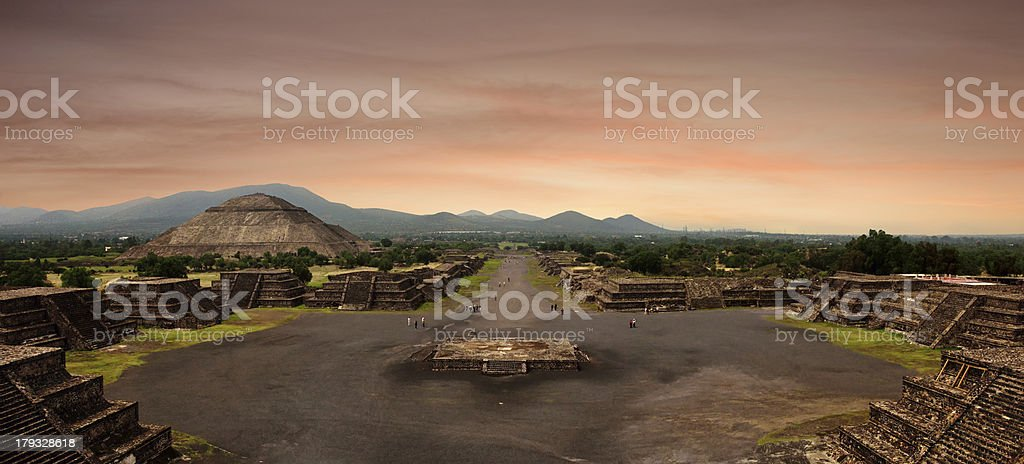 Panoramic view from Pyramid of Moon at the ancient Mayan stock photo