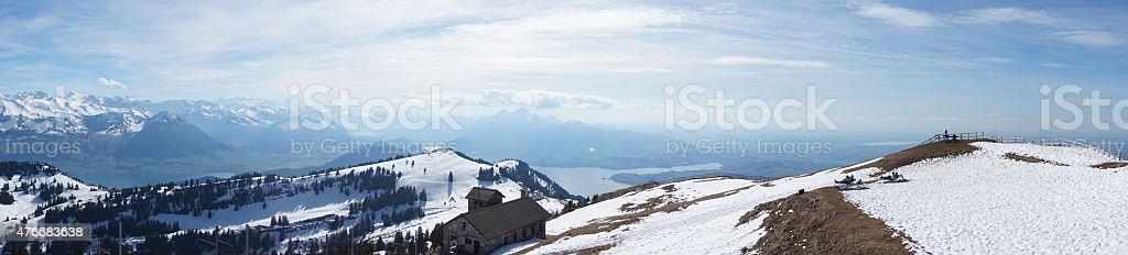 Panoramic View from Rigi, Switzerland stock photo