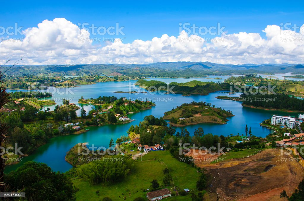 Panoramic view from Rock of Guatape in  Medellin, Colombia stock photo