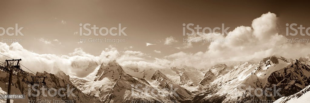 Panoramic view from ski resort in winter sun day stock photo