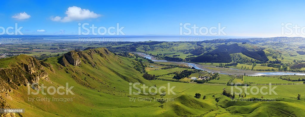 Panoramic view from Te Mata Peak, Hawkes Bay, New Zealand stock photo
