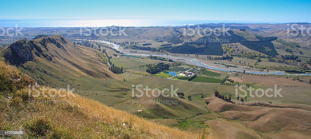 Panoramic view from Te Mata Peak, Napier stock photo