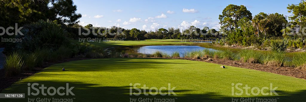 Panoramic View From Tee Box on Golf Course in Florida royalty-free stock photo