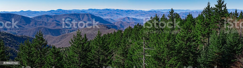 Panoramic view from the Blue Ridge Parkway stock photo