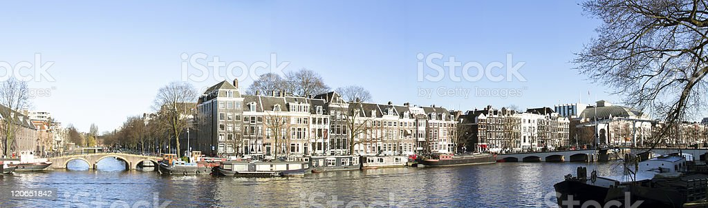 Panoramic view from the city Amsterdam in Netherlands royalty-free stock photo