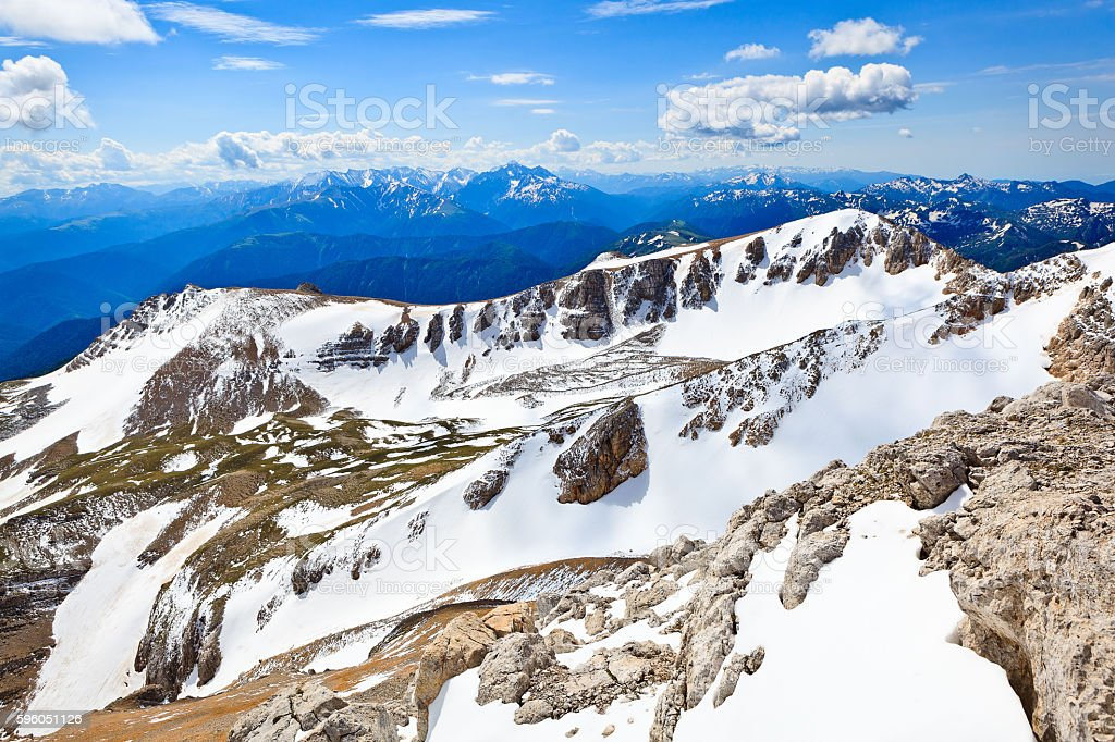 Panoramic view from the height of bird's flight over mountain stock photo