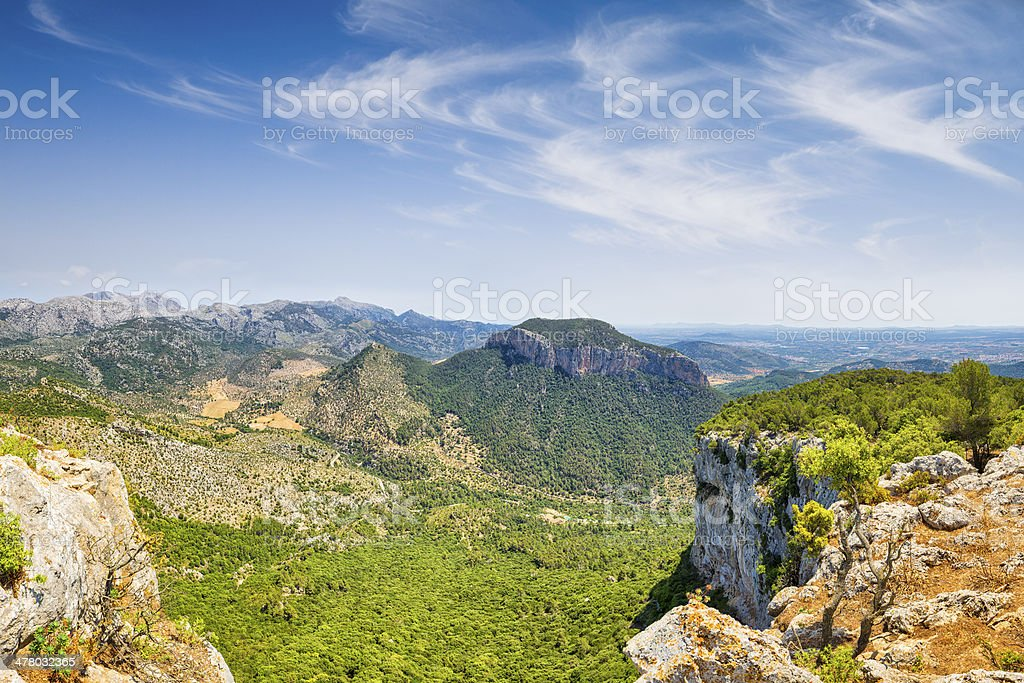Panoramic view from the mountain ( Puig d'Alar? ) stock photo