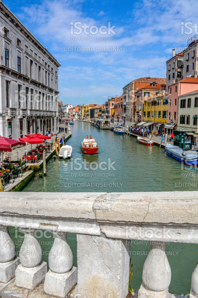Panoramic view from the Ponte delle Guglie (Bridge), Sestiere di Cannaregio, Venice, Italy stock photo