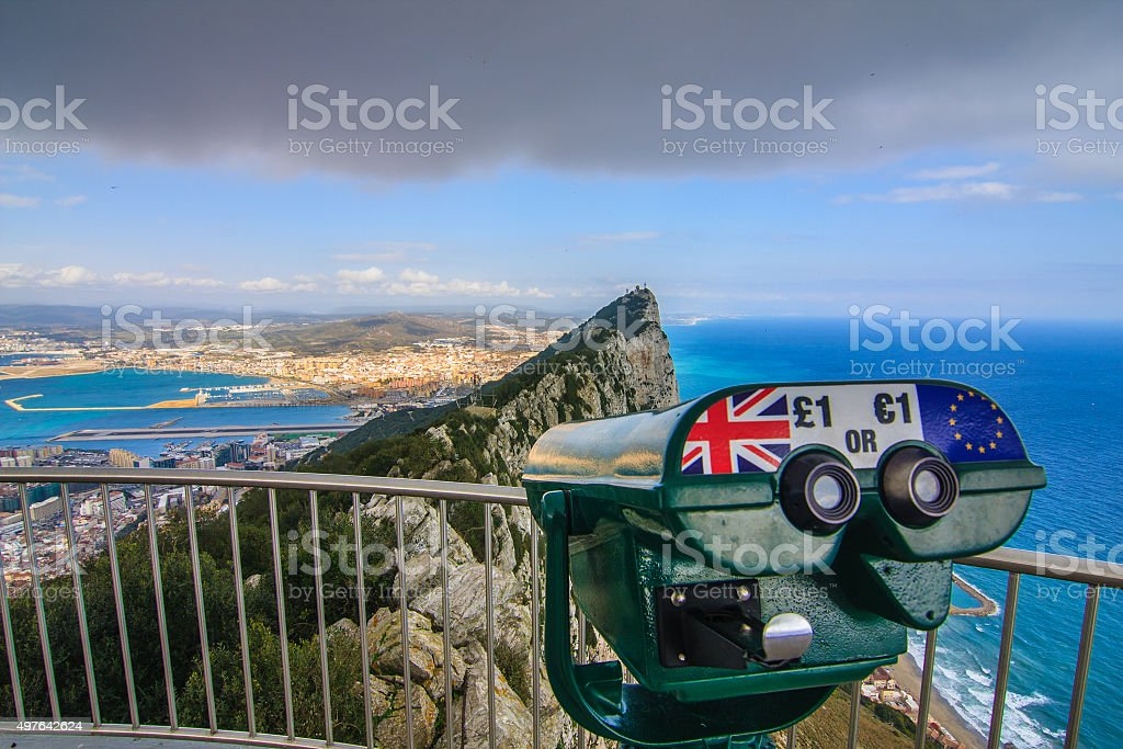 Panoramic view from the Rock of Gibraltar stock photo