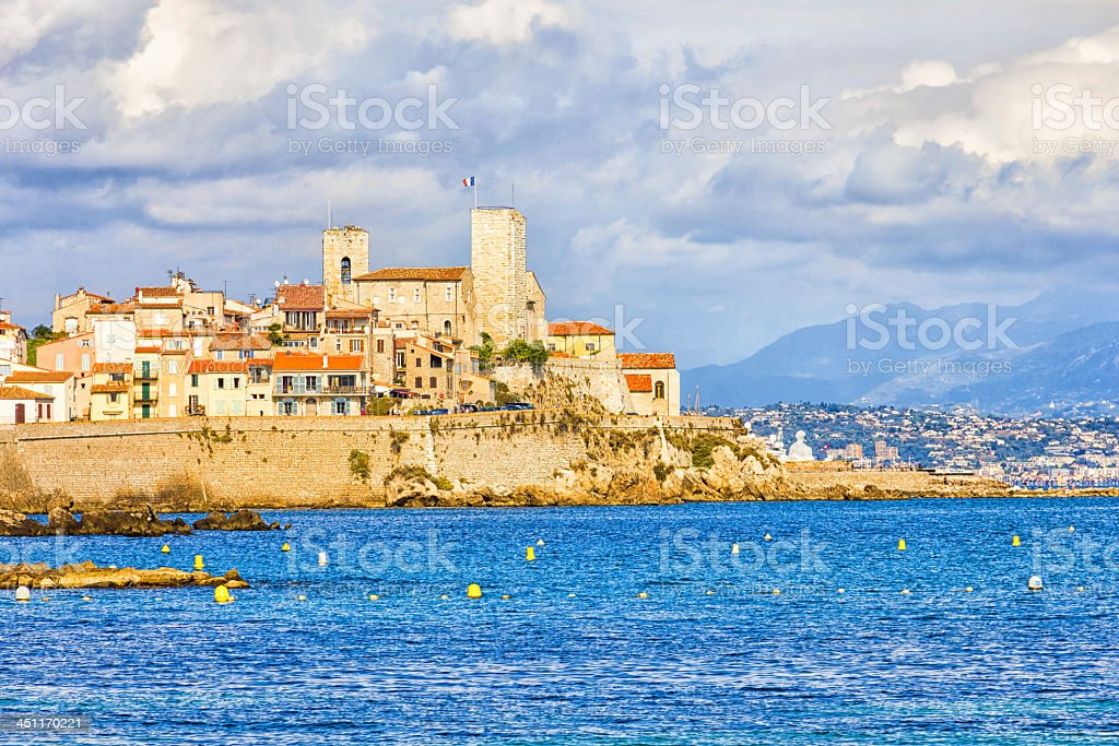 Panoramic view from the sea of Antibes, south of France stock photo