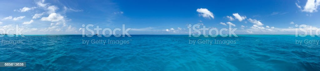 Panoramic View From The Sea Of Maldives Island stock photo