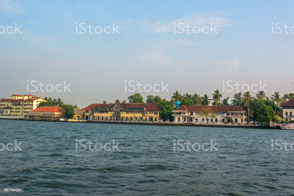 Panoramic view from the sea on the waterfront, Cochin, stock photo