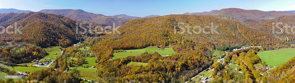 Panoramic view from the top of Seneca Rock, West Virginia stock photo