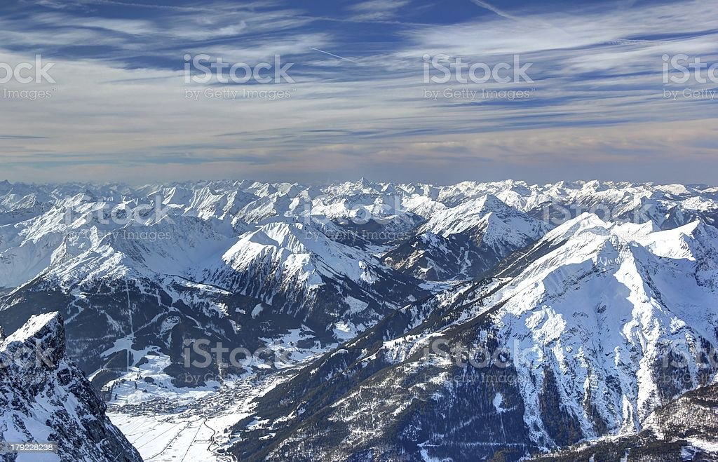 Panoramic view from the Zugspitze. royalty-free stock photo