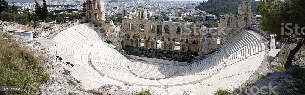 Panoramic view from Theater Of Herodes Atticus, Acropolis, Athens stock photo