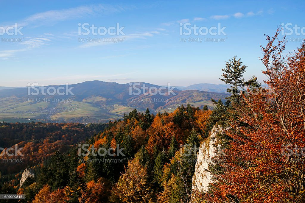 panoramic view from Three Crowns peak in Pieniny Mountains, Poland stock photo