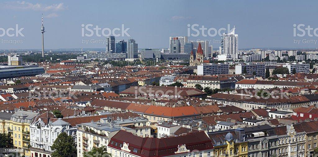 Panoramic view from Viennese giant wheel (Wiener Riesenrad) royalty-free stock photo