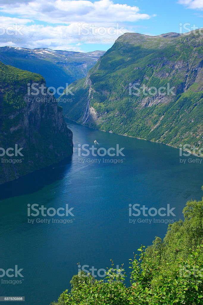 Panoramic View Geiranger Fjord - Vertical stock photo
