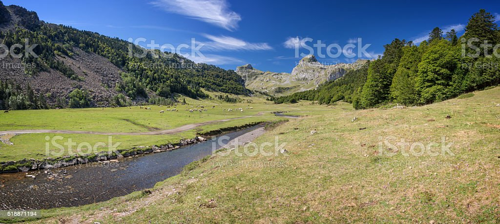 Panoramic view in the Ossau Valley in the Pyrenees, France stock photo