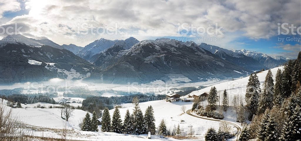 Panoramic view in Tyrol with Grossglockner, Austria stock photo