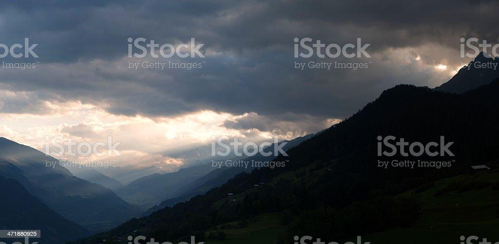 Panoramic view into swiss Anterior Rhine valley at sundown stock photo