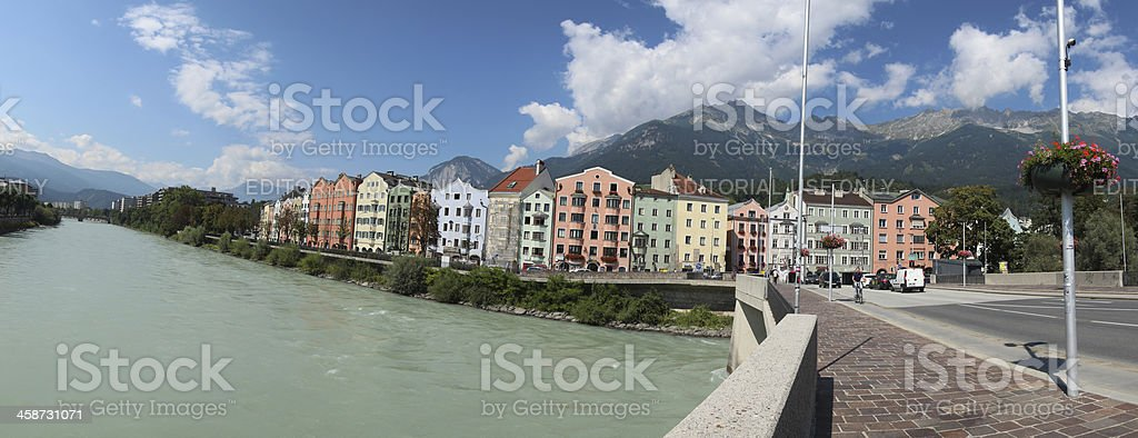 Panoramic View Mariahilf, Promenade, Innufer, Innsbruck, Tyrol, Austria royalty-free stock photo