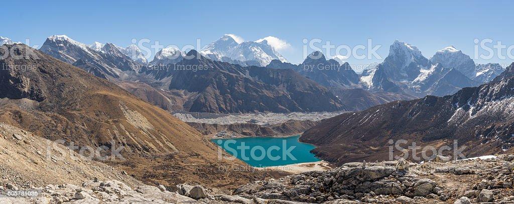 Panoramic view mountain landscpe from Renjo la, Everest region stock photo